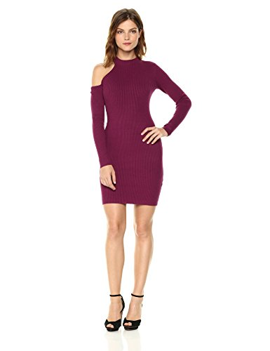GUESS Women's Long Sleeve Brittani Asymmetrical Dress, Purple Potion, M