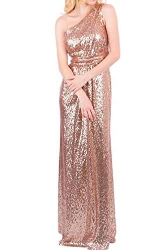 2662f12503 Honey Qiao Sequins Rose Gold One Shoulder Bridesmaid Dresses Long Formal  Gowns