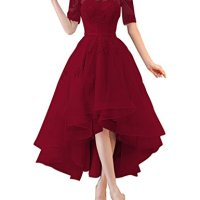 Kevins Bridal Off Shoulder High Low Prom Dresses 1/2 Sleeves Bridesmaid Dress Appliques Burgundy Size 18W