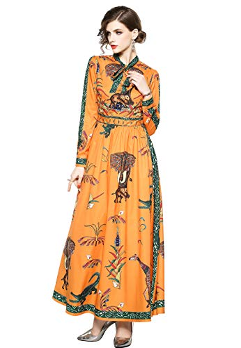 Women Vintage Tie Front Paisley Print Shirt Dress Causal A-line Party Maxi Dress