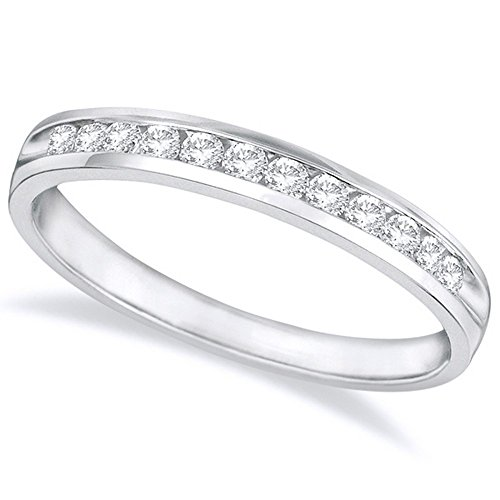 1/2 Carat (ctw) 14K White Gold Round Diamond Ladies Channel Set Half-Way Semi-Eternity Wedding Anniversary Stackable Ring Band Premium Collection