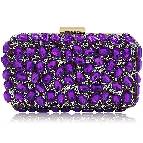 Stunning Rhinestone Party Clutches Cocktail Crossbody Evening Bags For Women Clutch Purse Handbag (Purple)