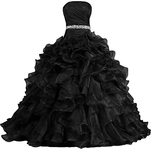 ANTS Women's Pretty Ball Gown Quinceanera Dress Ruffle Prom Dresses Size 18W US Black