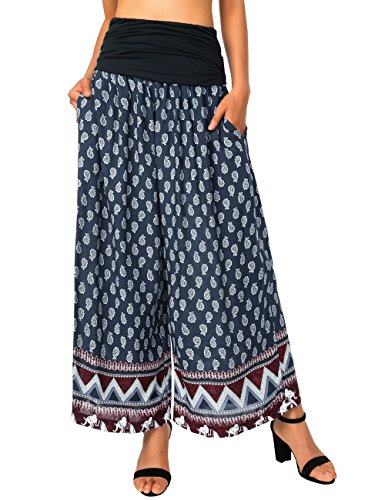 BaiShengGT Hippie Pants, Womens Comfy Chic Fold Over Waist Wide Leg Palazzo Pants Blue Floral S