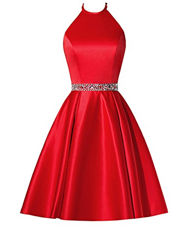 BBCbridal Satin Short Homecoming Dress Halter Cocktail Dress Prom Gowns Crystal Waist with Pockets Red 2