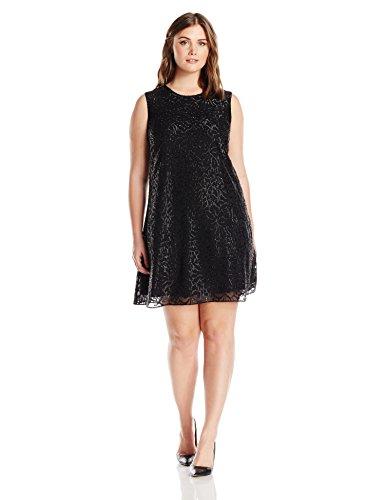 Calvin Klein Women's Plus Size Sleeveless Round Neck Trapeze Dress, Black, 18W