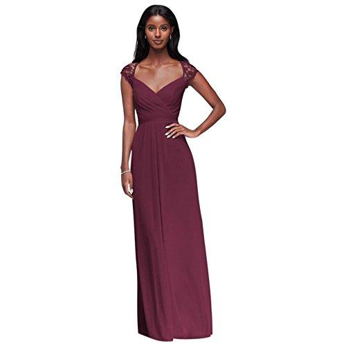 David's Bridal Long Mesh Bridesmaid Dress with Lace Cap Sleeves Style F19505, Wine, 10