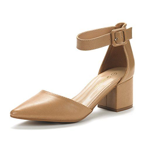 DREAM PAIRS Women's Annee Nude Pu Low Heel Pump Shoes – 9.5 M US
