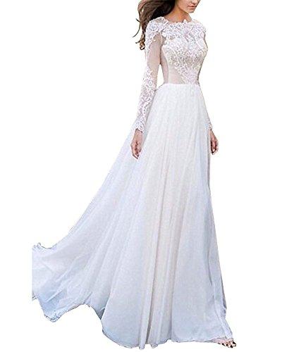 Fishlove Womens Long Sleeves Wedding Dress Lace Chiffon Bridal Gown US6 White