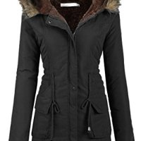 Gumod Womens Military Hooded Warm Winter Faux Fur Lined Parkas Anroaks Long Coats