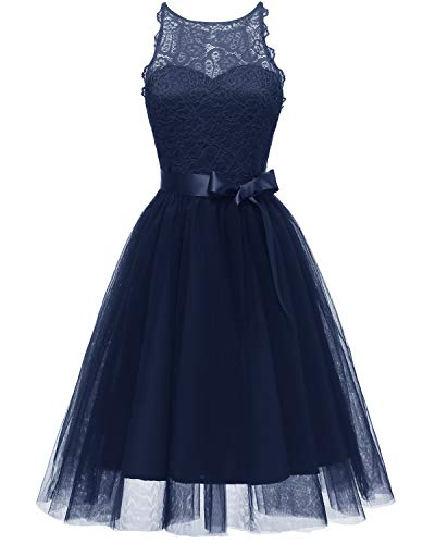 Lace Dress for Women Party – A Line Knee Length Elegant Evening Dress for Wedding (2018) (Navy Blue, XX-Large)