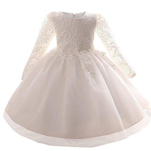 Mallimoda Girl's Lace Tulle Flower Princess Wedding Dress Toddler Baby Girl Long Sleeve White 3Y