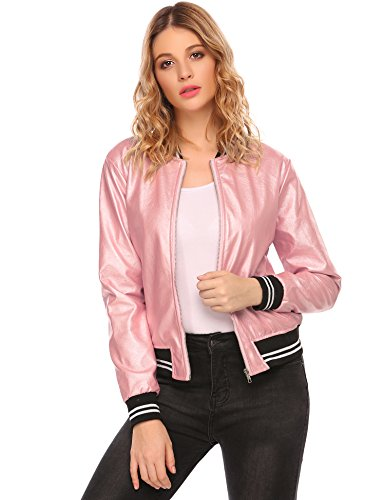OD'lover Women's Faux Leather Short Baseball Bomber Jacket Coat