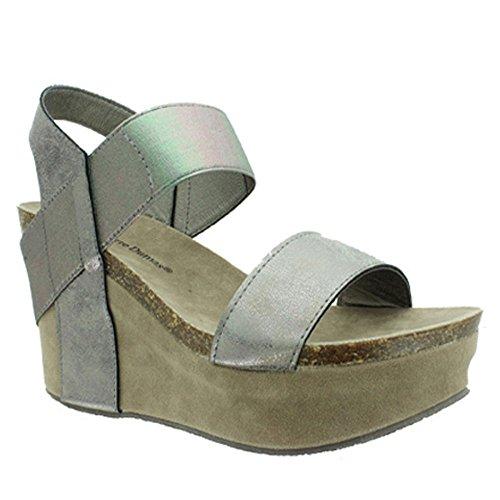 Pierre Dumas Women's Hester-1 Pewter-Steel Wedge Sandal (5.5M)