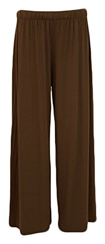 Purple Hanger Women's Plus Size Wide Leg Palazzo Pants Mocha 20-22