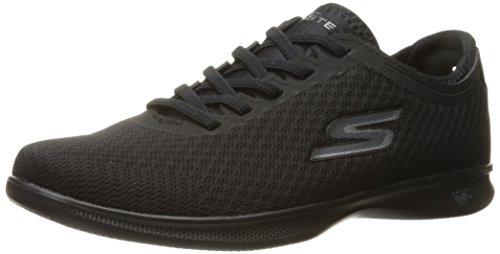 Skechers Women's Go Step Lite-Dashi Walking Shoe, Black Mesh,10 B M US