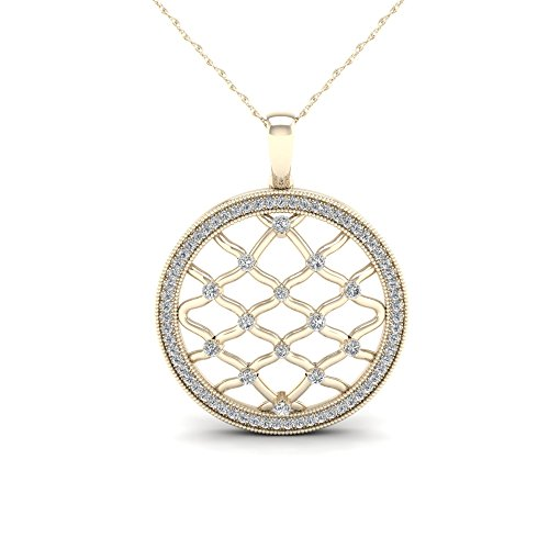 10K Yellow Gold 1/4ct TDW Diamond Filigree Open Circle Necklace(I-J, I2)
