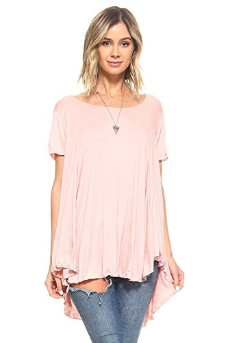 Simplicitie Women's Short Sleeve Loose Fit Flare Flowy T Shirt Tunic Top – Regular and Plus Size – Mauve Pink – Made in USA