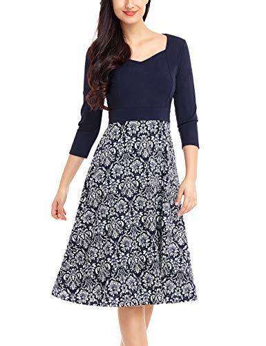 ACKKIA Women Casual Floral Printed Crop Sleeve Sweetheart Neck Knee Length Dress Navy Blue Size XX-Large (Fits US 20-US 22)