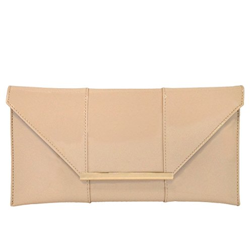 Faux Patent Leather Envelope Candy Clutch, Nude