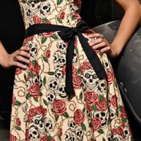 Folter Clothing STRAPLESS FOREVER YOURS DRESS in Skull Rose Tattoo Flash Print- Medium