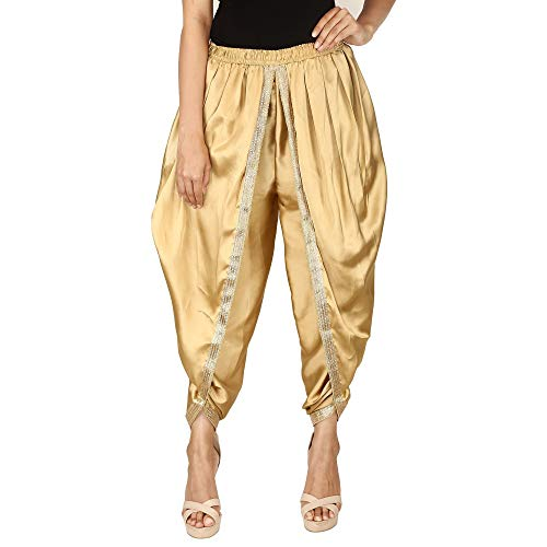 Golden Color Satin Silk Dhoti Pant, Patiala Dhoti Salwar, Dhoti Trousers for Women, Girls