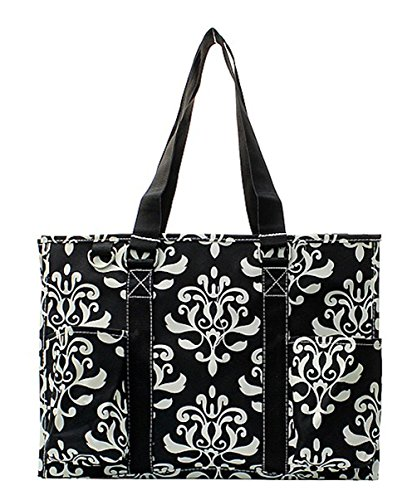 N Gil All Purpose Organizer Medium Utility Tote Bag (Bloom Damask Black)