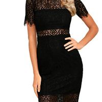 Zalalus Women's Lace Dresses for Cocktail Wedding Party Elegant High Neck Short Sleeves Above Knee Length Summer Bodycon Casual Midi Dress Black US8