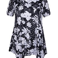 ZERDOCEAN Women Plus Size Printed Short Sleeves Tunic Tops Flowy T Shirt Style-809 3X