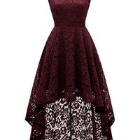 DRESSTELLS Women's Cocktail V-Neck Dress Floral Lace Hi-Lo Formal Swing Party Dress Burgundy L