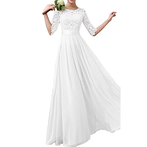 Eiffel Women's Lace Splicing Chiffon Long Maxi Dress Evening Wedding Bridesmaid Gown ,White,Small
