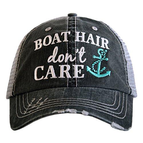 Katydid Boat Hair Don't Care Women's Trucker Hat-gray/mint