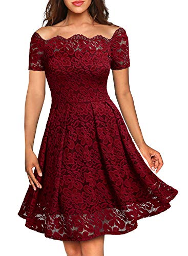 MISSMAY Women's Vintage Floral Lace Short Sleeve Boat Neck Cocktail Formal Swing Dress (Small,E-Red Short Sleeve)