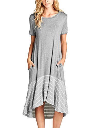 250092a282 ROSKIKI Summer Midi Dresses with Pockets for Women Short Sleeve High Low  Spilce Striped Ruffle Hem Short Sleeves Round Neck Flowy T Shirt Dresses  Grey ...