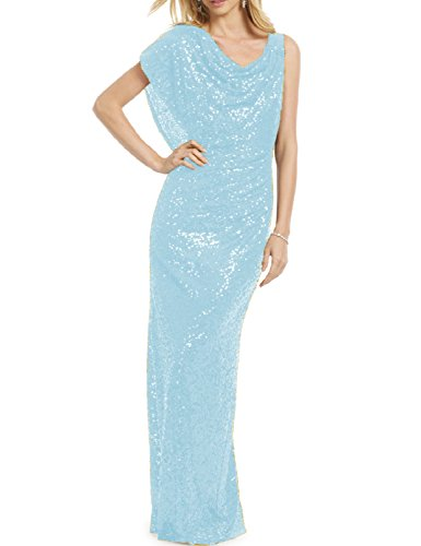 YSMei Women's Long Mermaid Sequined Prom Bridesmaid Party Dress Formal Prom Gowns Light Blue 14