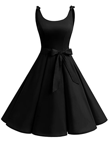 Bbonlinedress 1950's Bowknot Vintage Retro Polka Dot Rockabilly Swing Dress Black M