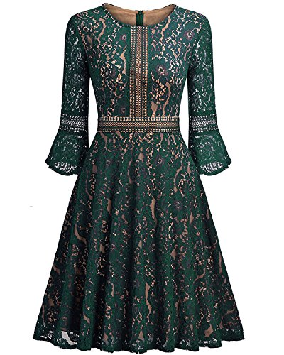 Little Hunter 2017 Autumn Solid Green Lace Flare Sleeve Dress