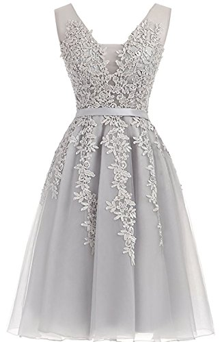 Short Homecoming Dresses Tulle Applique Cocktail Prom Dress V-Neck Evening Party Gowns US 4 Silver