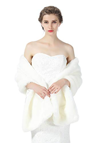 Faux fur Shawl Wrap for Wedding Women Shrug Bridal Stole Winter Cover Up Bridesmaids Cape S76 Ivory