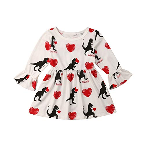 Toddler Baby Girl Love Heart Dinosaur Print Dress Princess Long Sleeve Ruffles Valentines Day Clothes