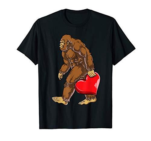 Bigfoot Heart T shirt Valentines Day Boys Kids Sasquatch Men