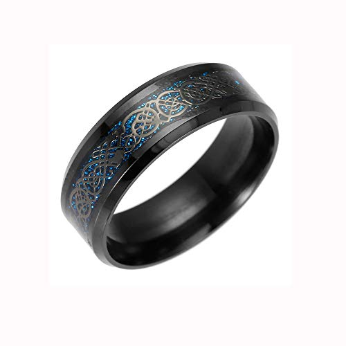 Titanium Steel Dragon Ring with Silver Golden Dragon Stainless Steel Ring Valentine's Day Gifts for Girlfriend Boyfriend (US Size)
