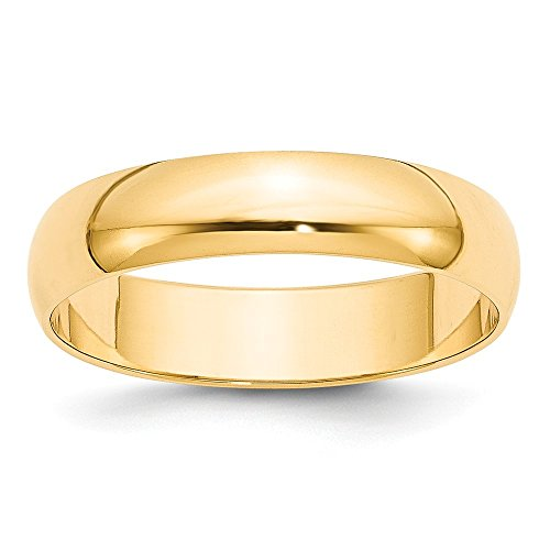 Jewelry Stores Network Solid 14k Yellow Gold 5 mm Rounded Wedding Band Ring