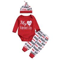 3PCS Newborn Baby Boy Girl My 1st Valentine's Day Outfit Clothes Infant Romper + Letter Pants Hat Set