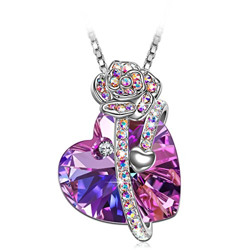 Necklace, SIVERY 'Love of Rose' Women Jewelry with Purple Original Swarovski Crystal, Gifts for Mom