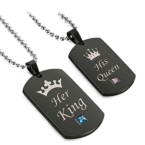 Valentine's Day Gift for Lover His Queen&Her King Dog Tag Stainless Steel Couple Pendant Necklace Special Gift for Women Men by LEECCO