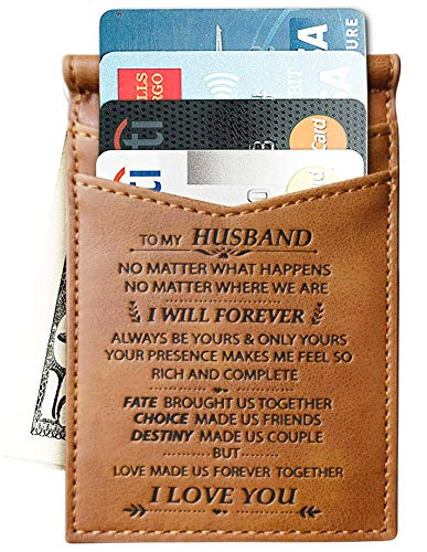 Memory Wife to Husband Slim Wallet Card Holder Gift Best Valentine Gifts for Him for Husband