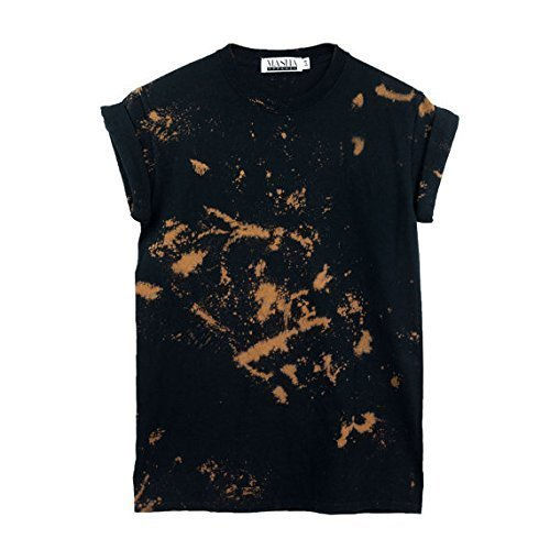 Black Bleach Tie Dye Unisex T-Shirt Pattern Shirt short Sleeve Plus Size S, M, L, XL, XXL, XXXL