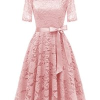 DRESSTELLS Short Bridesmaid Scoop Floral Lace Dress Cocktail Formal Party Dress Blush 2XL