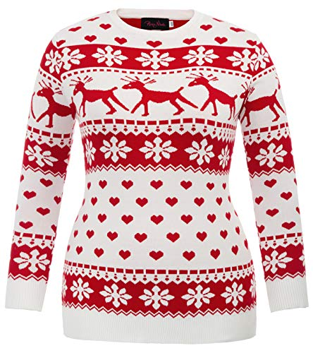 Women Plus Size Knitted Sweatshirt Ugly Christmas Pullover Sweater Red 18W